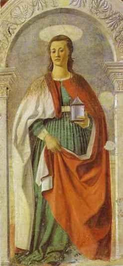 Piero della Francesca ~ Mary Magdelene, ca. 1460, Fresco, San Donato cathedral, Arezzo)