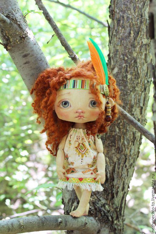 Купить Папитока- дочь индейского вождя - рыжий, Рыжая, индеец, перья, орнамент на ткани