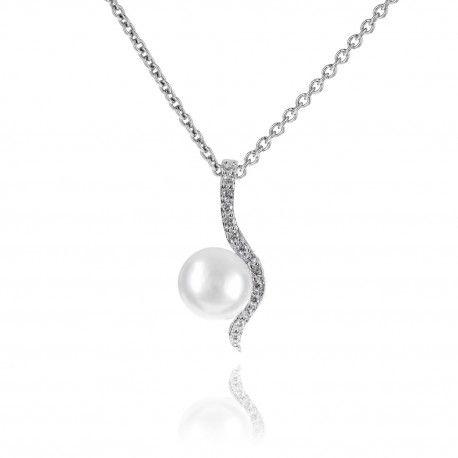 Stříbrný náhrdelník vlnka s perlou a zirkony