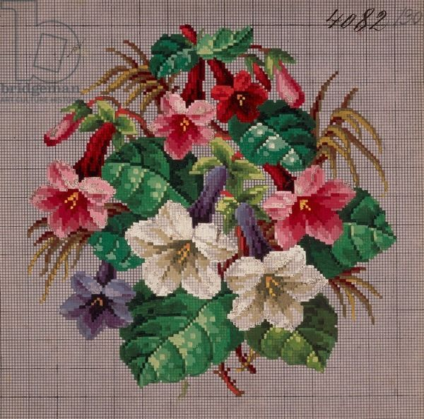 Bunch of white lilies, gentians and fuchsias embroidery design, 19th century