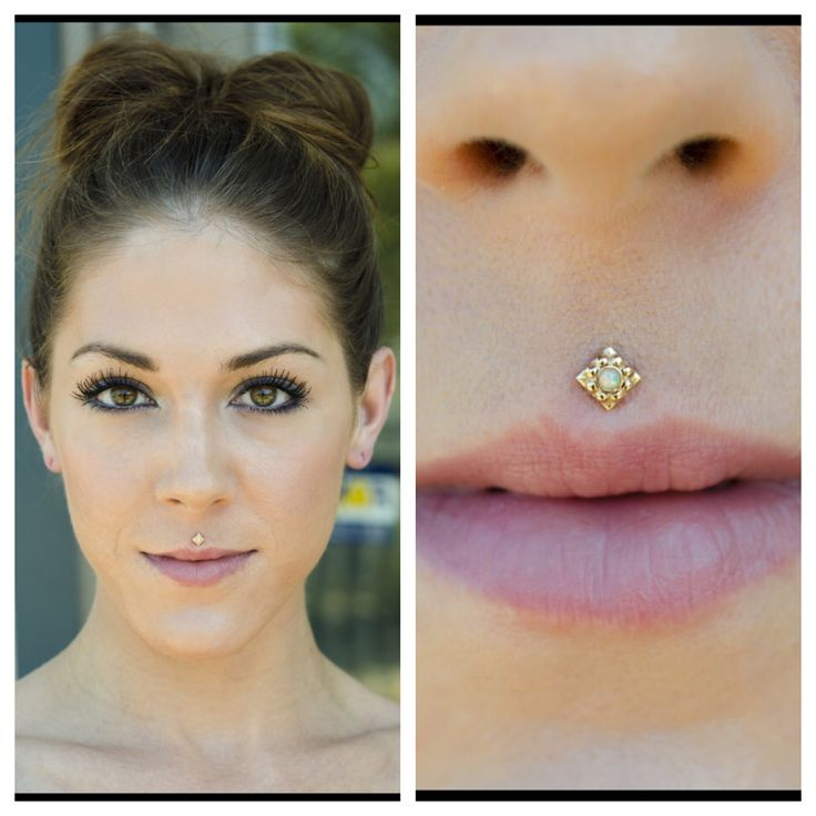 Philtrum with yellow gold Kira from Anatometal.
