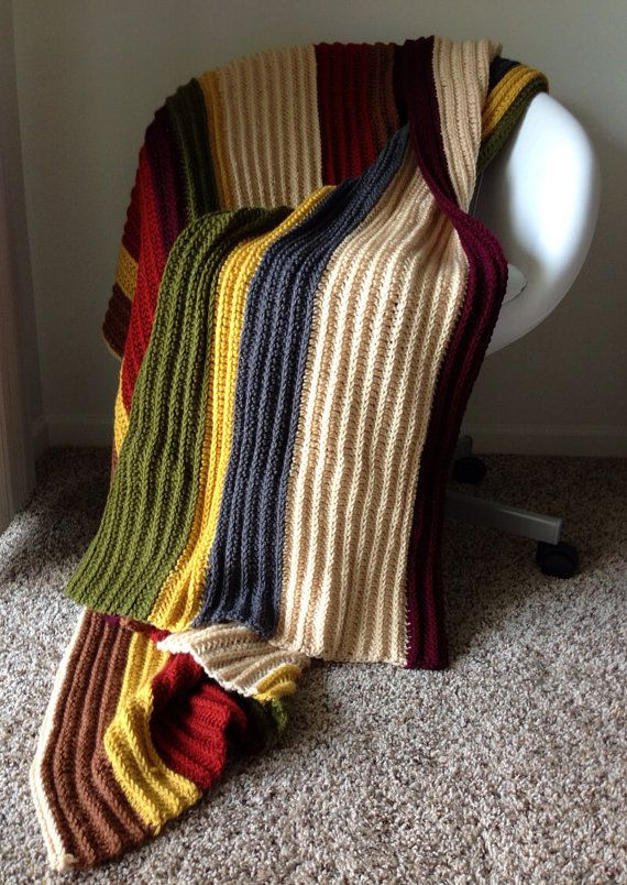 Fourth Doctor Afghan - Doctor Who Blanket. I don't think I could wear a 20-ft long scarf, but this could be a fun nod to the Doctor, perfect for curling up while watching Who.