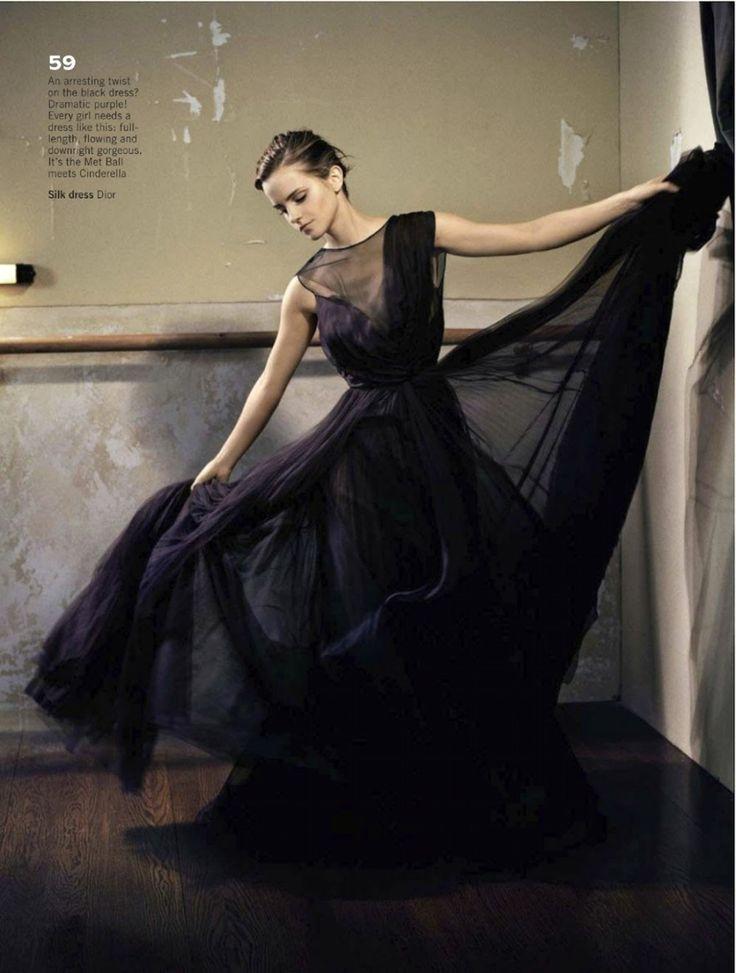 Glamour UK October 2012 | 엠마 왓슨 : 네이버 블로그 Emma Watson in black Dior gown.