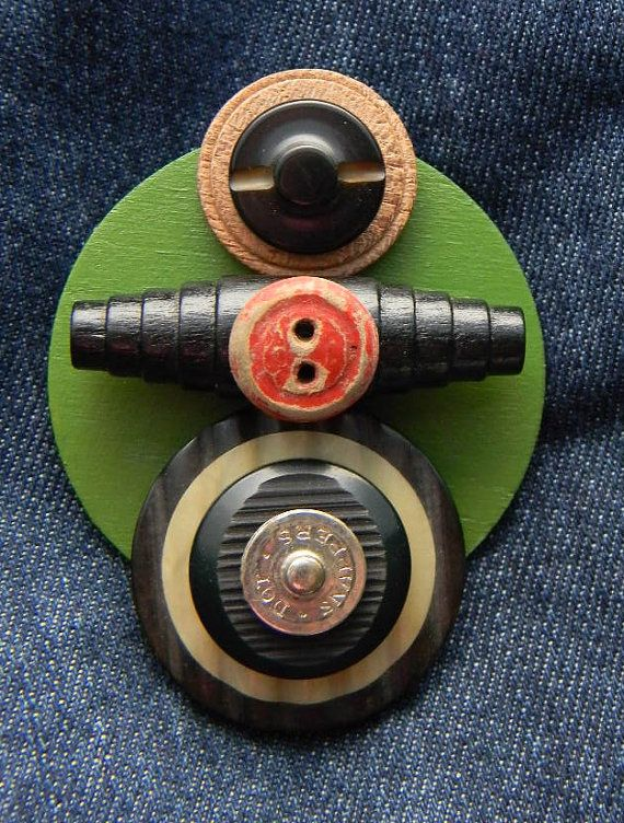 "Art Assemblage Brooch  -  ""Red Button""  -  Found Object Jewelry  http://www.etsy.com/shop/redhardwick"