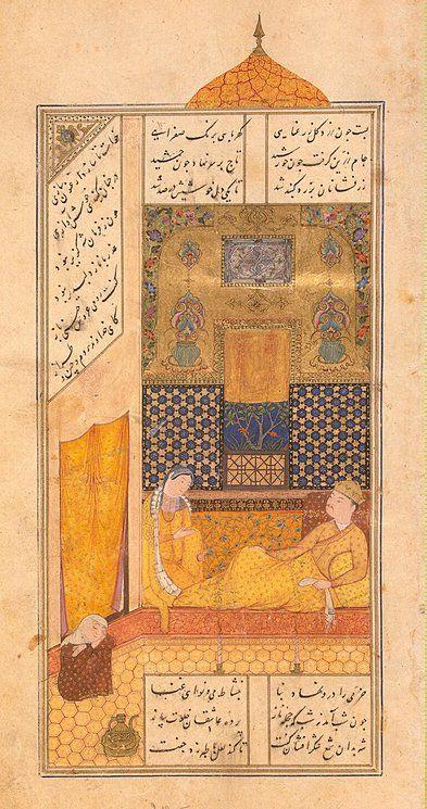 Miniatures, Gouache, 23.7x13.7 cm. Origin: Iran, 1431-1431, Timurid Dynasty. Album: The Khamsa by Nizami. Personage: Bahram Gur. Source of entry: First Branch of the State Hermitage Museum, 1924. School: Herat. Theme: Literature.
