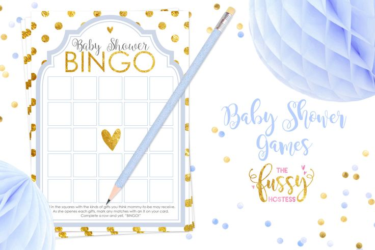 Baby Shower Games- Bingo Shower Games Printable Blue & Gold Baby When the mom-to-be is ready to open her gifts hand out these bingo cards. Guests will write down the gifts they think she will receive. As she opens her gifts the guests will mark the gifts off on their cards. Five squares in a row WINS!  This listing is a DIGITAL DOWNLOAD. You will not receive anything in the mail.  WHAT YOU GET: Hi-res, ready-to-print PDF (2 cards on an 8.5 x 11 page.) Finished size is 5 x 7.  ORDER PROCES...