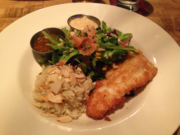 Potato Crusted halibut with cowgirl salad and almond rice ...