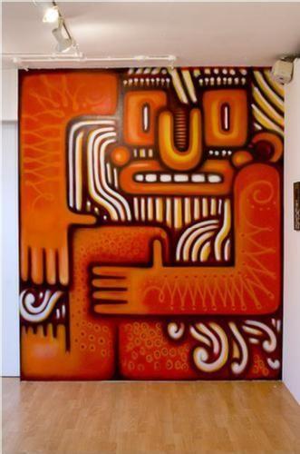 tinhão, pato, flip : tinhão, pato e flip são grafiteiros brasileiros famosos no exterior  esse graffiti foi feito em uma galeria em londres  eles fazem trabalhos até em embaixadas | fetusofgod