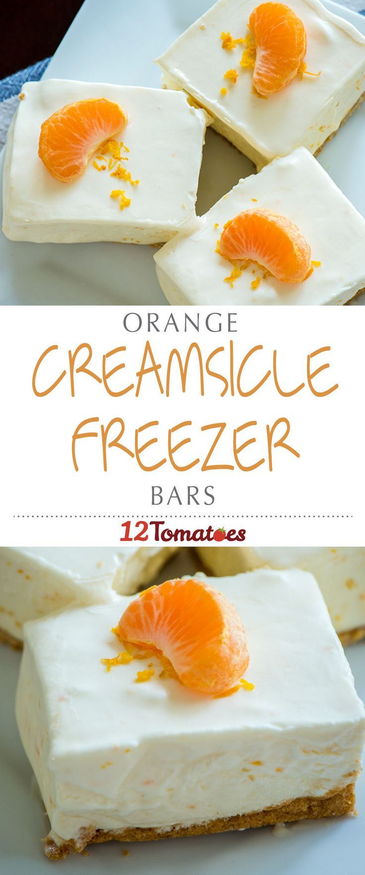 Orange Creamsicle Freezer Bars | Orange creamsicles are a childhood favorite, and we certainly have fond memories of cooling down with them on long summer days. These no-bake creamsicle bars are the grownup version of the classic ice cream treat – a little more elegant, but still bursting with bright flavor and cool, creamy texture.