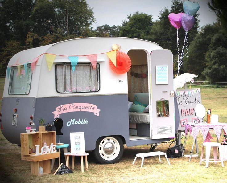 "My beauty truck ""La Coquette Mobile"" vintage caravan, nail bar, nail art, make-up, temporary tatoos, vintage hair. Bordeaux, Aquitaine, France www.lescoquettesparty.fr"