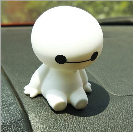 Darmowa wysyłka 9.5 cm big hero 6 baymax robot bobble szef potrząsając głową zabawka modelu samochodu dekoracji, najbardziej odpowiednie mały prezent