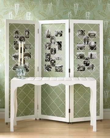 Photo screens are an easy way to display photos!: Photo Boards, Guest Books, Photo Display, Folding Screens, Wedding Ideas, Families Photo, Martha Stewart, Rooms Dividers, Display Photo