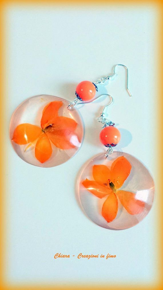 #Resin #jewelry, #realflower #earrings, ornithogalum, orange, sterling silver, dangle, terrarium jewelry, gift for her, unique, nature jewelry