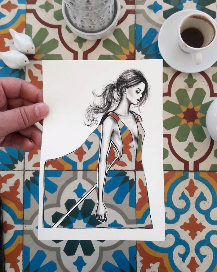 Shamekh Bluwi, a Jordan-based architect and fashion illustrator who uses clouds, buildings, and whatever else he finds to decorate his cutout dresses. Well now he's back with more exquisite patterns... Bluwi first got the inspiration for the idea during a trip to Dubai. - BORED PANDA