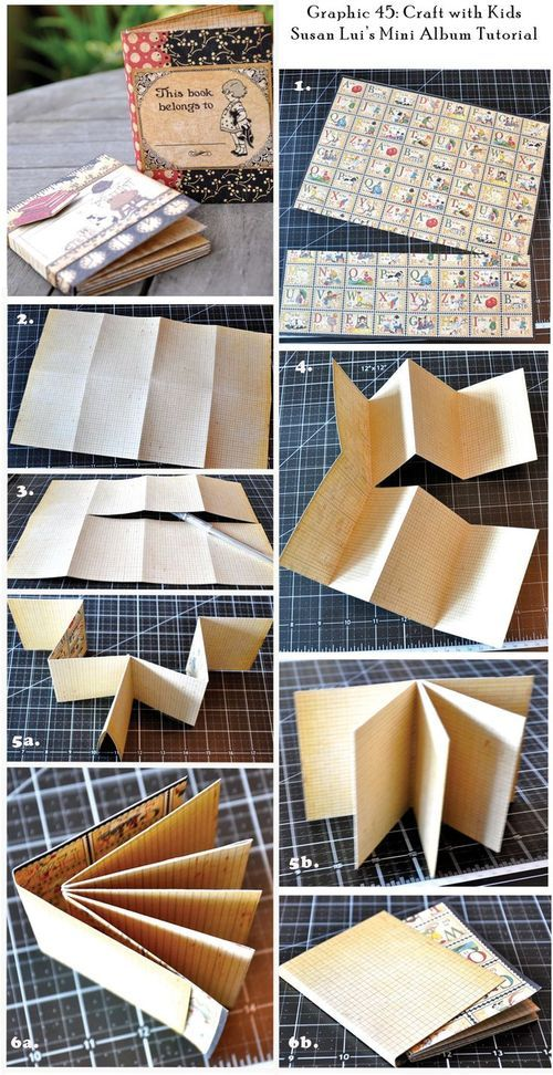 12x12 double sided paper cut a 4x12 strip set aside for cover. fold paper as shown, cut across 3 panels and fold as shown glue pages and add cover.