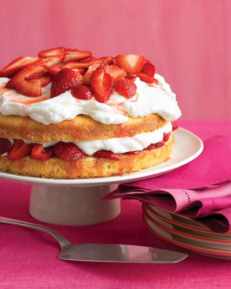 Strawberry Cream Cake | Martha Stewart Living - Combining cake, cream, and berries, this treat is twice as delectable as the sum of its parts. The buttery cake soaks up the strawberry juices, while the whipped cream adds an airy richness.