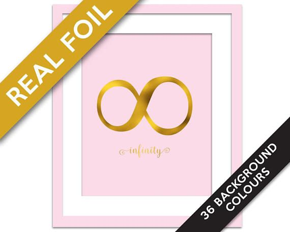 Infinity Symbol Art Print - Gold Foil Print - Typography Art Print - Classroom Art - Infinity Poster - Punctuation Art Print - Valentine's