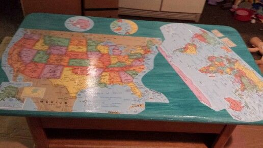U S And World Map Coffee Table Diy Decoupage Maps Onto