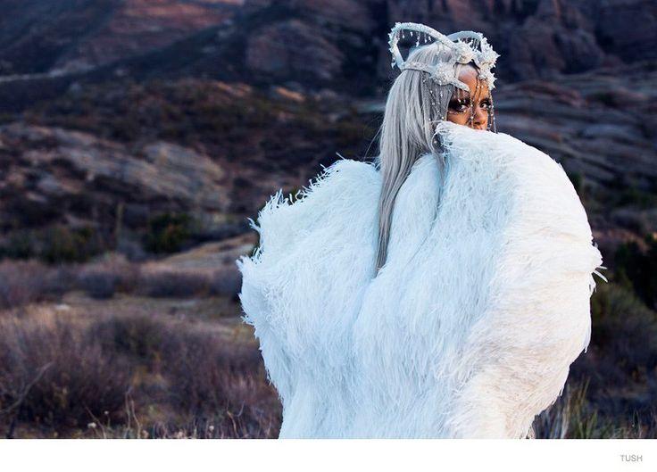 Rihanna Goes Futuristic, Rocks Grey Hair in Tush Fashion Shoot