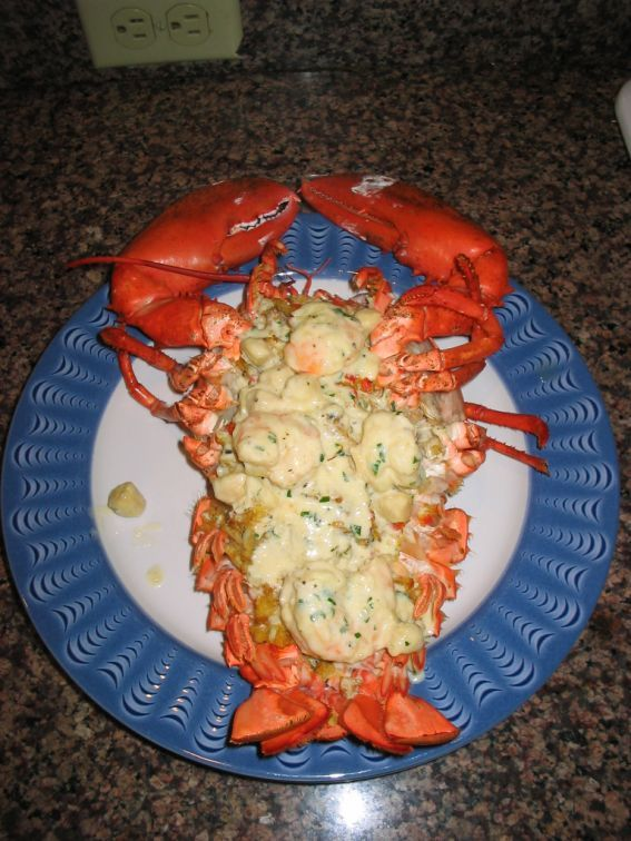 Maine Lobster in butter sauce Recipes | Baked Stuffed Lobster with Thermidor Sauce Recipe