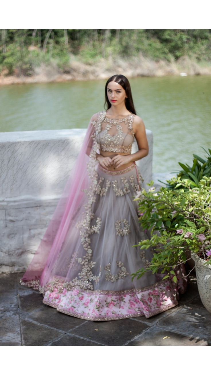 Grey and Pink Lengha Set