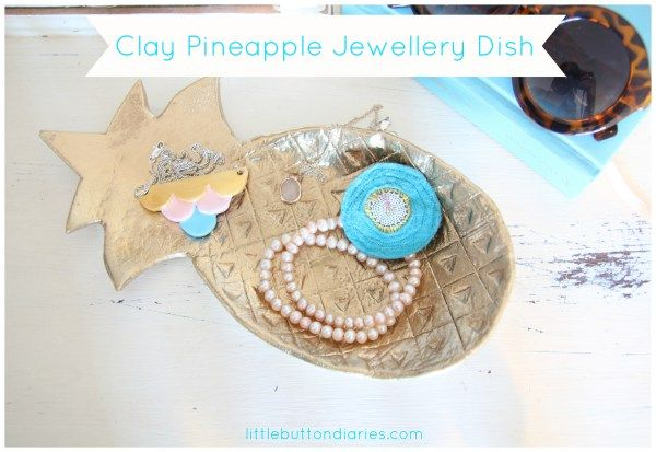 clay pineapple jewellery dish by little button diaries