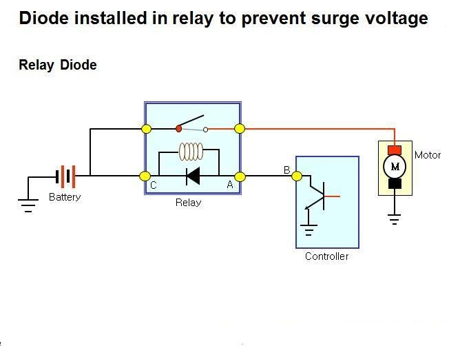 diode installed in relay to prevent surge voltage