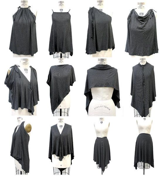 Unique Black Gray Convertible Clothing Gray Black by SecondSkein