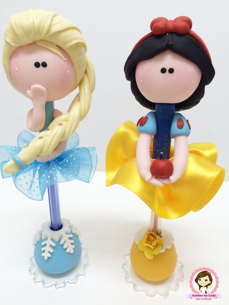Canetas Princesas Anna e Elsa em biscuit