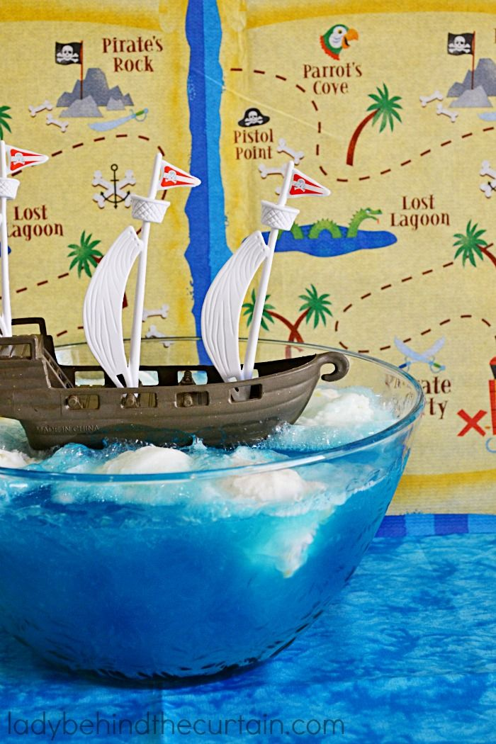Flying in the Clouds Pirate Punch   The perfect punch for a kid's birthday party! With only THREE ingredients this punch is easy to make and affordable too!