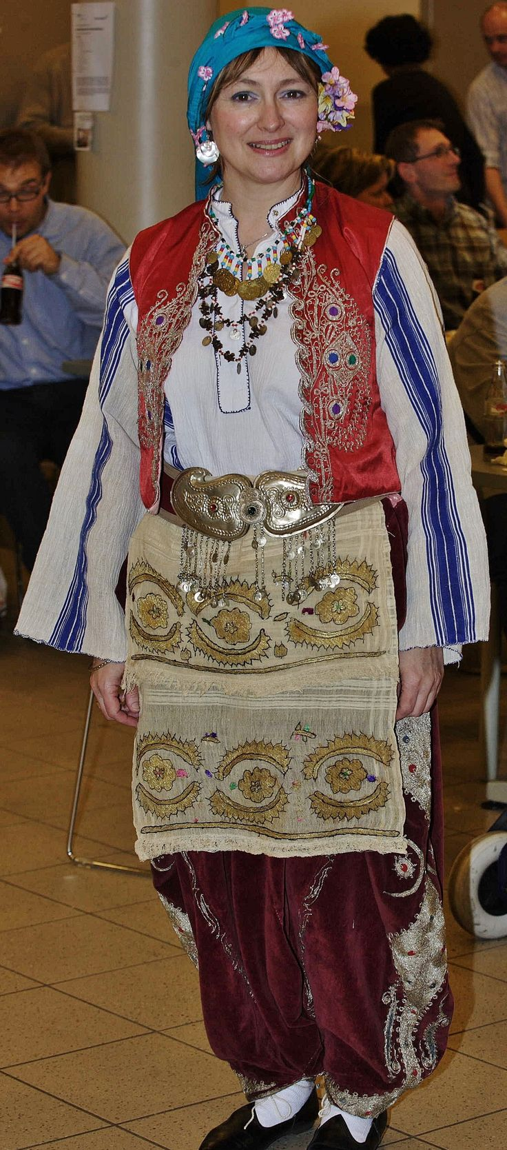 Traditional festive costume from Trakya/Thrace.  The large 'şalvar' (baggy pants) and the 'yelek' (sleeveless vest/bodice) are embroidered in the so-called 'Rumeli' style, 1925-1950.  (Kavak Costume Collection - Antwerpen/Belgium).