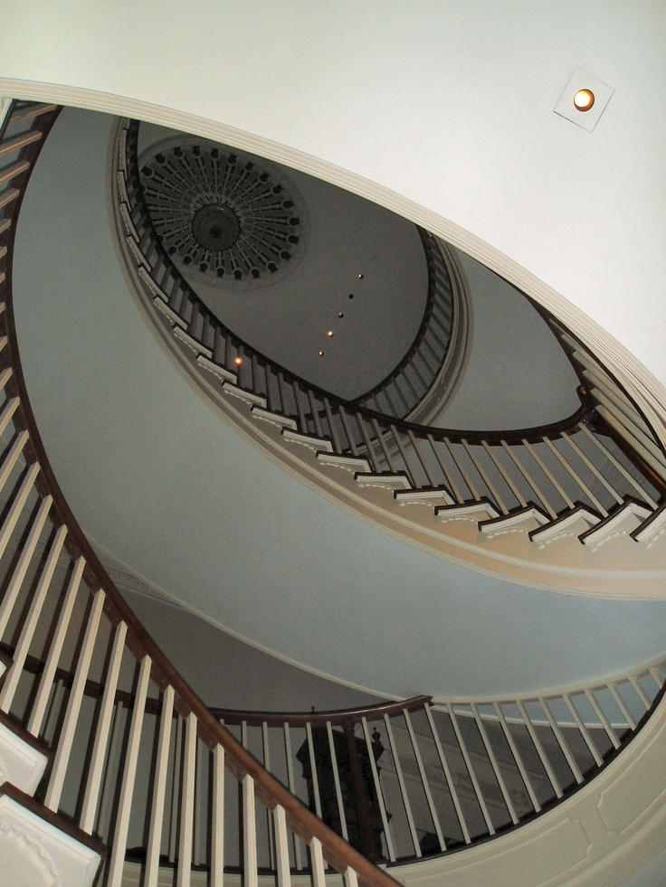 The Montmorenci Staircase, Winterthur Museum, the largest free-standing spiral staircase. Installed by HF duPont while his family was away as a surprise. Looks fantastic as you walk up to it, then shocks you with it's beauty as you look upwards.
