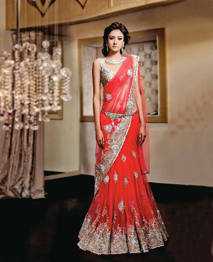 Net eight-kali sari with gold and silver zari and sequins on the sari and blouse