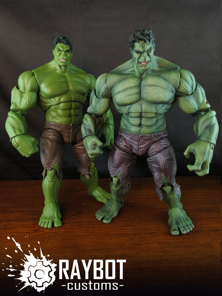 Fwoosher Raybot's custom painted Avengers movie Hulk action figure, before and after