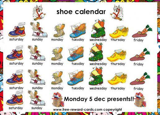 Shoe calendar, Sinterklaas