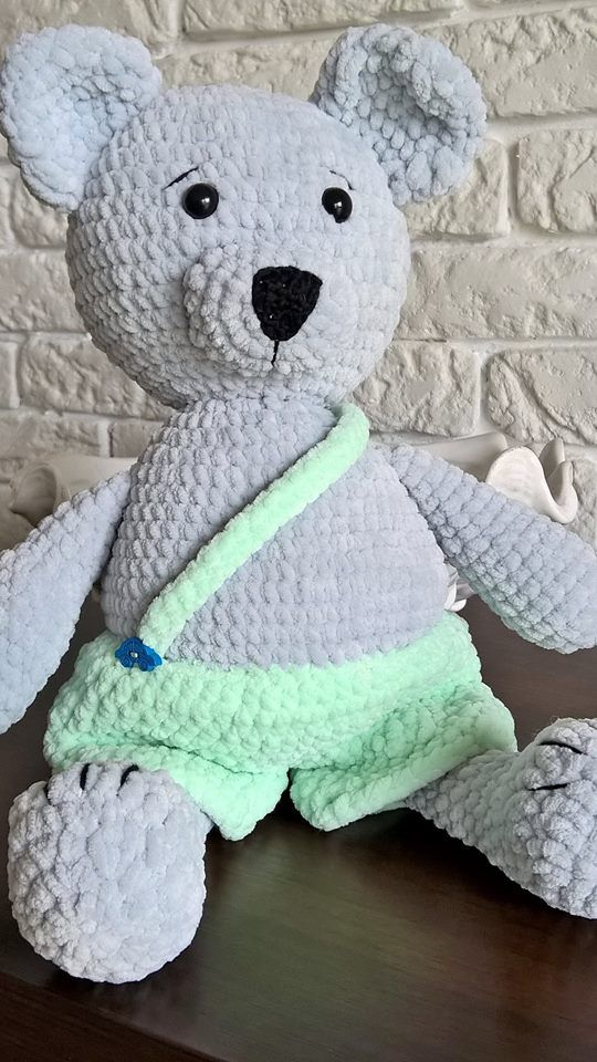 Teddy bear   #crocheting #szydełko #diy #amigurumi #toys #4kids #handmade #rekodzielo #mis #teddybear #szydelkowymis #recznarobota #mint #szary #babies #4kidsrooms #decorating #przytulaczek