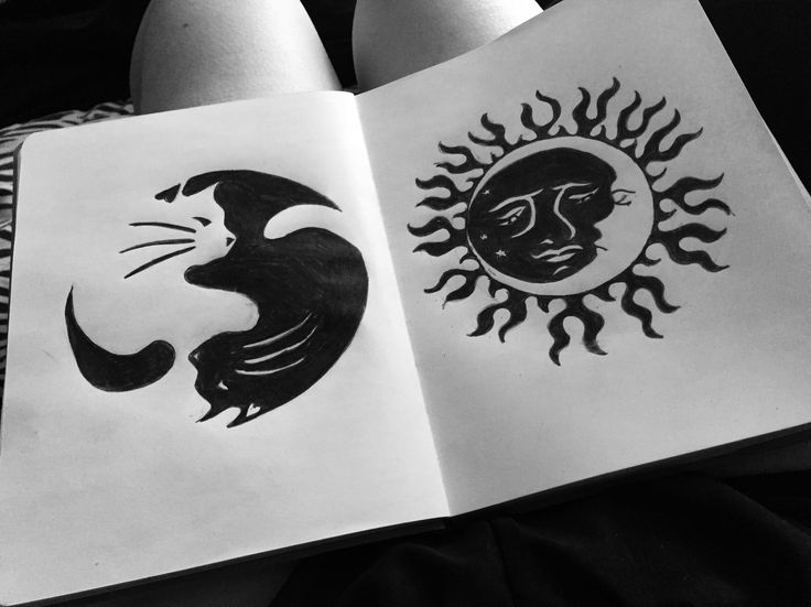 Colored pencil- sun and moon, yin-yang cats