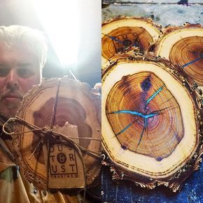 .Coasters made from fallen hardwood. The cracks are filled with dyed epoxy. Getting closer to launching the online store.// ,#wood ,#woodworking ,#woodburning ,#woodturning ,#pyrography ,#palletwood ,#pallet ,#recycle ,#relic ,#repurpose ,#reclaimed ,#distillery ,#brewery ,#whiskey ,#wine ,#spirits ,#cowboy ,#cowgirl ,#country ,#countryliving ,#craftsmanship ,#joinery ,#western ,#workshop ,#winetasting ,#upcycle ,#moscowmule ,#torquoise