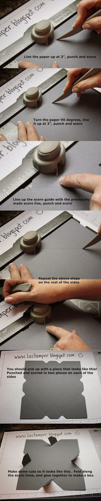 Envelope Punch Board box tutorial. Start with an 8x8 piece of cardstock and follow the tutorial. Visit my blog for pics of the final project! Makes a small 3X3 box