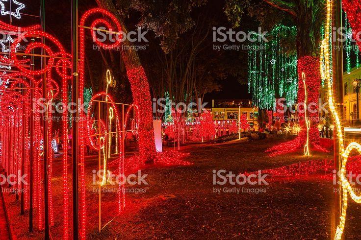 Bogotá, Colombia: Christmas lights on Plaza de Usaquén royalty-free stock photo
