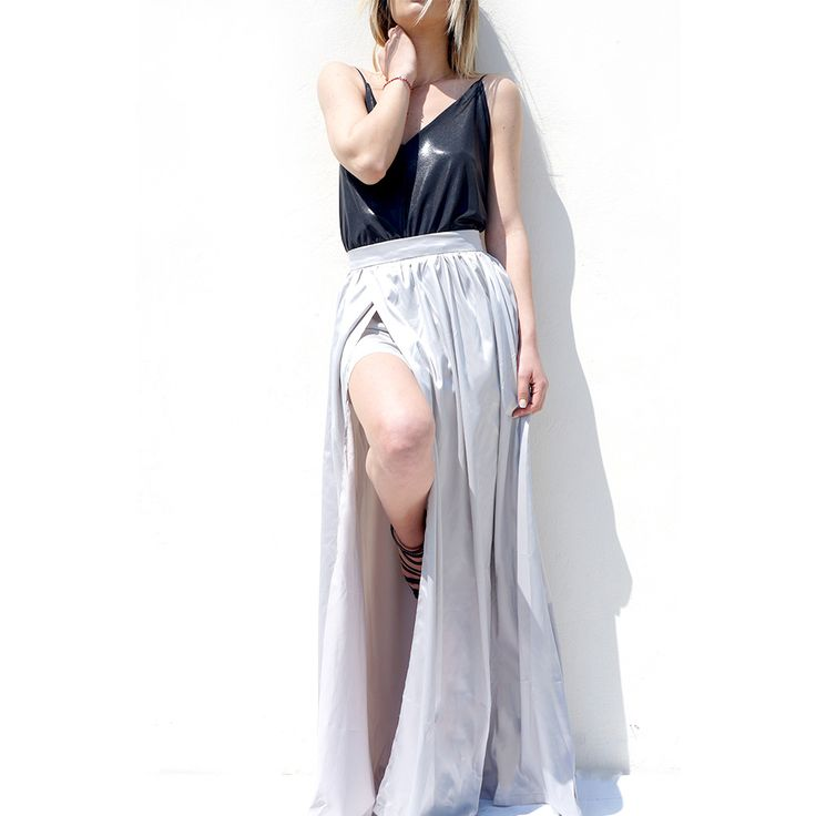 maxi skirt in silver! #fashion #skirt #maxi #greece #onlineshop