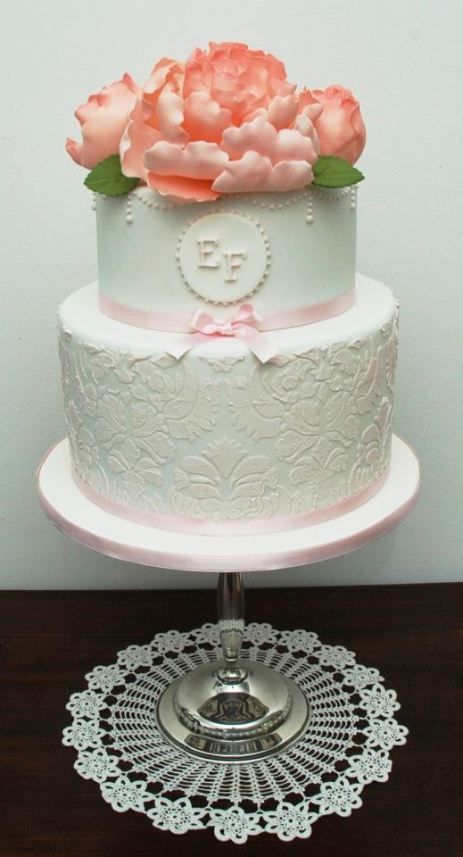 shabby chic bridal shower cakes%0A Peony  cameo  and damask cake by Kiss My Cakes