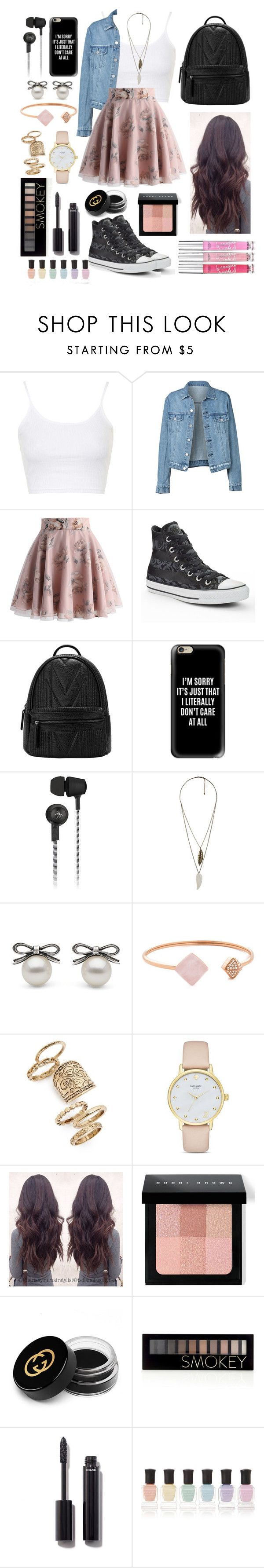 """""""Skater School Girl"""" by siamesecat-1 ❤ liked on Polyvore featuring Topshop, Chicwish, Converse, Casetify, Original Penguin, Forever 21, Michael Kors, Kate Spade, Bobbi Brown Cosmetics and Gucci"""