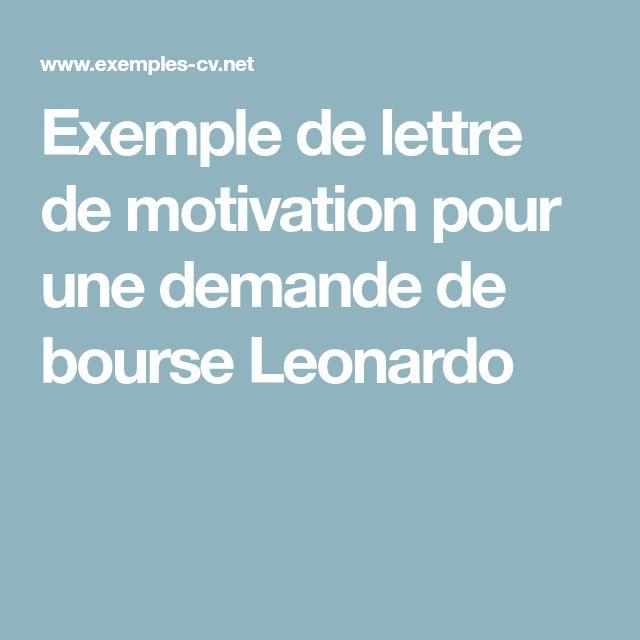exemple de lettre de motivation pour une demande de bourse leonardo