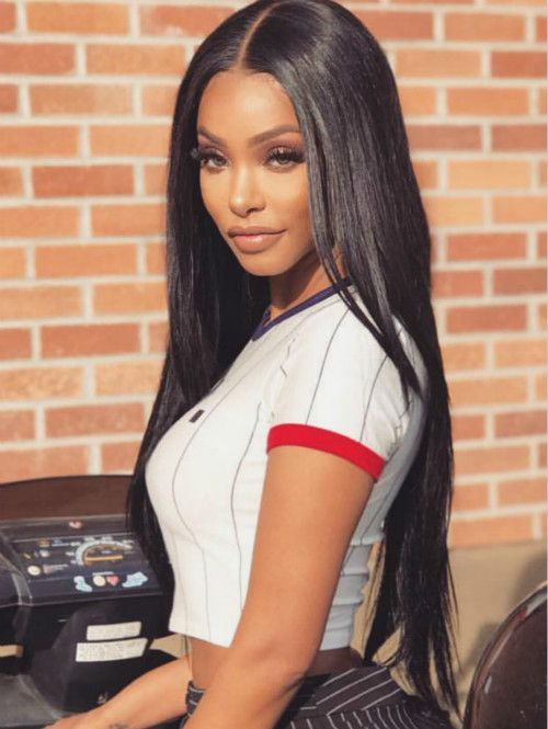 Straight long hairstyles wigs for black women human hair wigs lace front wigs  african american women e6fa83c322