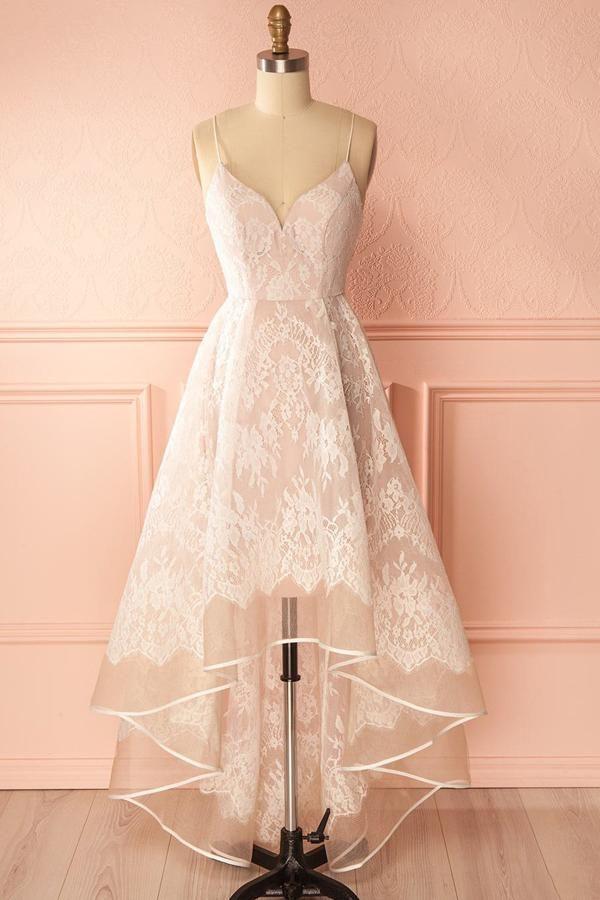 Pink A Line Asymmetrical Sweetheart Spaghetti Sleeveless Open Back Prom Dress,Party Dress P168