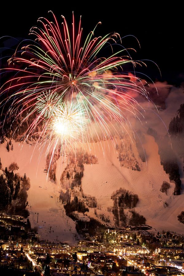 Aspen Colorado ranks #1 Party Town in SKI's 2013 Resort Guide. We can see why. #SKI #Winter #fireworks #festive #photography #colorado #mountains #skiing #snow SkiMag.com