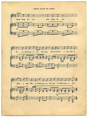 Vintage Printable - Christmas Sheet Music - print it off and attach it to a cut out cardboard letter to dress up the wrapping of a gift. : )