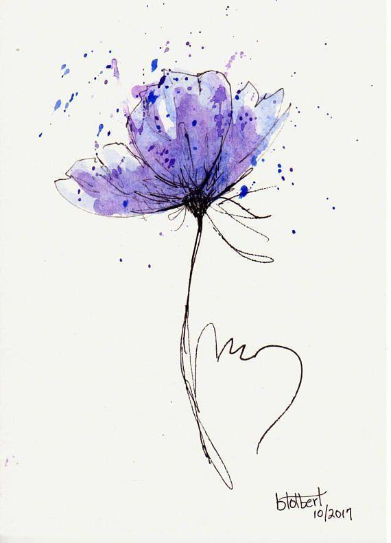 Original Aquarell Mohn Blume Kunst Hand Bemalt Rote Mohn Blume