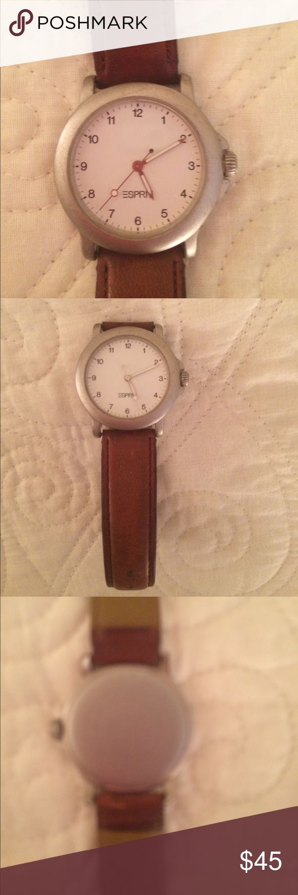 Esprit vintage watch...full working order! Esprit silver tone face watch. Second hand sweeps; white accents on hands; water resistant; Thailand movement;base metal bezel; stainless steel back;  camel brown leather strap Esprit Accessories Watches